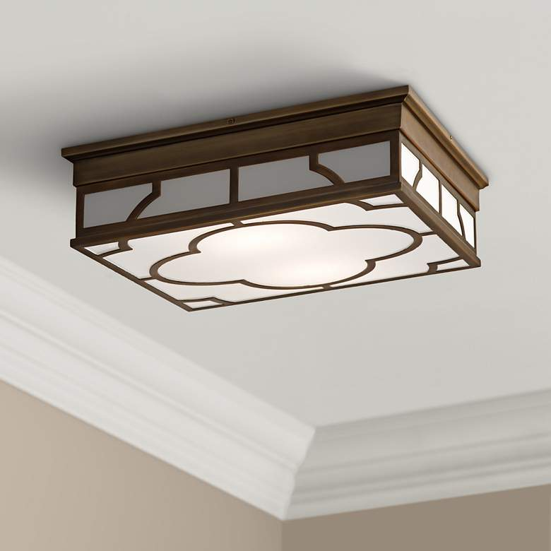 "Robert Abbey Addison 15 3/4"" Wide Brass Ceiling Light."