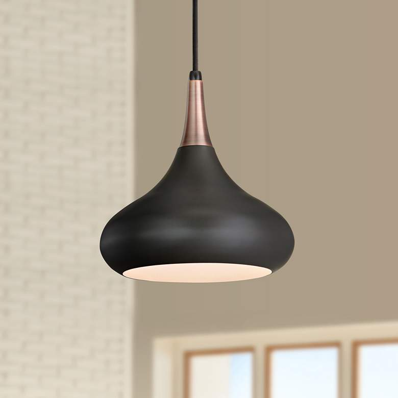 "Feiss Beso 10"" Wide Dark Bronze Mini Pendant"