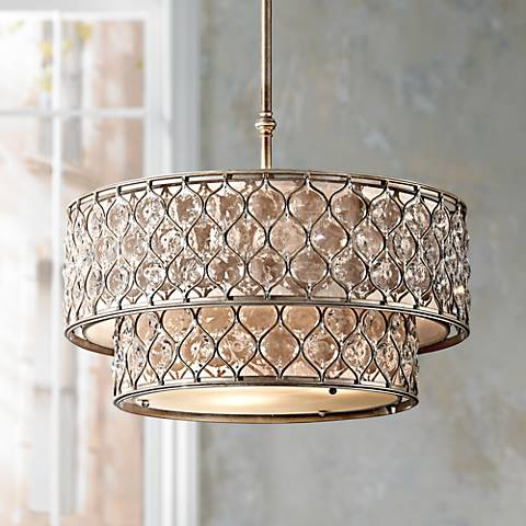 Feiss lucia 24 1 2 w burnished silver pendant light