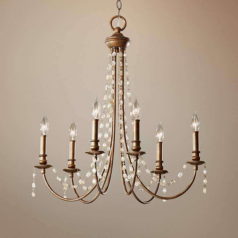 "Feiss Aura 27"" Wide Rustic Silver Chandelier"