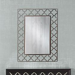"Medrassa Brushed Nickel Tile Openwork 30"" x 40"" Wall Mirror"