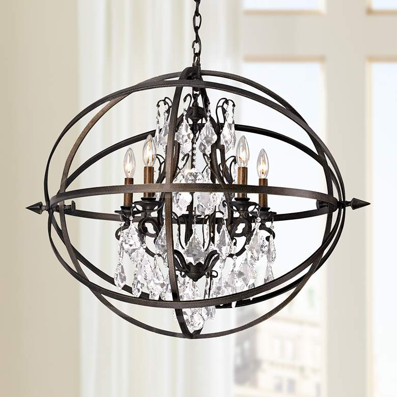 "Byron 27 1/4"" Vintage Bronze And Crystal Chandelier"