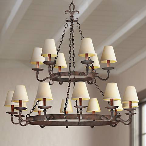 "Lyon Burnt Sienna 18-Light 48"" Hand-Forged Iron Chandelier"