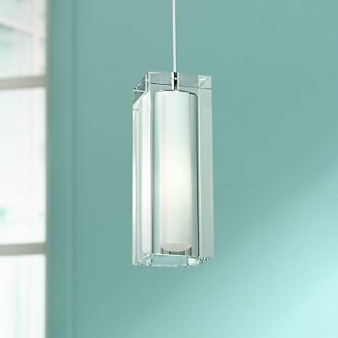 "Jayden Grande 3 3/4"" Wide Crystal Satin Nickel Mini Pendant"