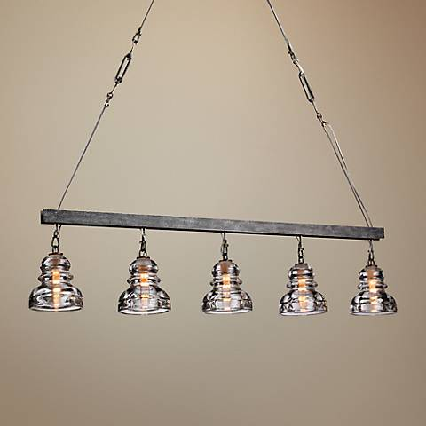 "Menlo Park 42"" High Iron and Brass Chandelier"
