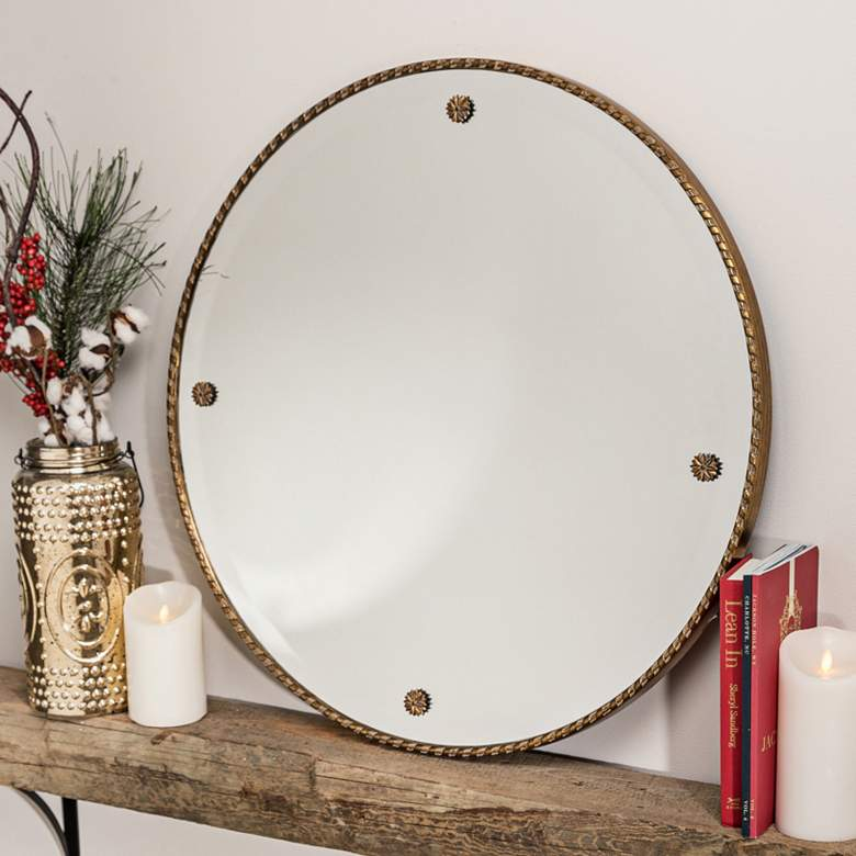 "Cooper Classics Keynes 29"" Round Decorative Wall Mirror"