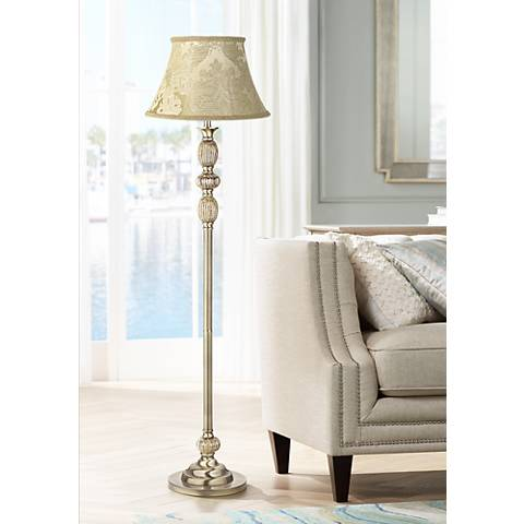 Ivory Brocade Satin Brass Mercury Glass Floor Lamp