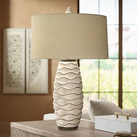Natural Light Ebbtide Pottery Table Lamp