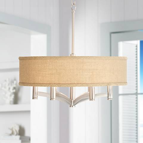 Woven Burlap Ava 6-Light Nickel Pendant Chandelier