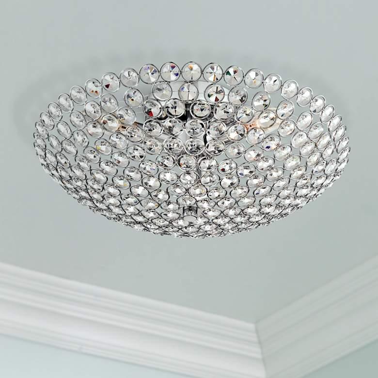 "Possini Euro Design Geneva 16"" Wide Crystal Ceiling"