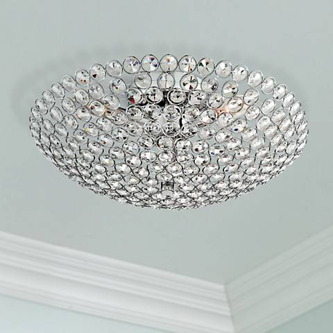 "Possini Euro Design Geneva 16"" Wide Crystal Ceiling Light"