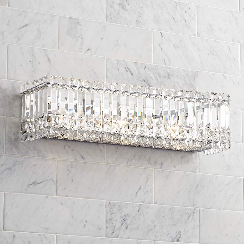 "Possini Euro Crystal Columns 23"" Wide Chrome Bath Light"