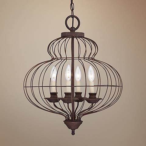 "Quoizel Laila 19"" Wide 4-Light Cage Chandelier"