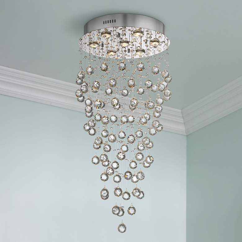 "Aida 17 3/4"" Wide Pouring Crystal Ceiling Light"