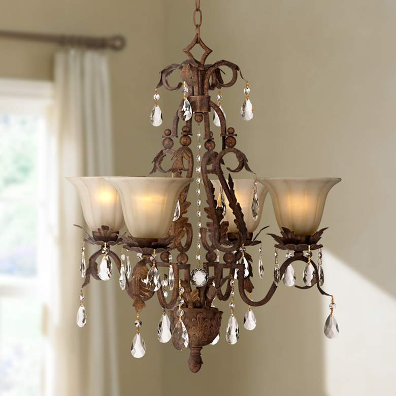 Iron Leaf 4-Light Roman Bronze and Crystal Chandelier
