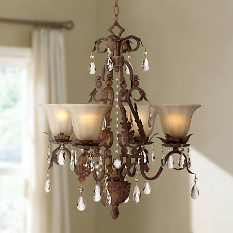 Iron Leaf 4 Light Roman Bronze And Crystal Chandelier
