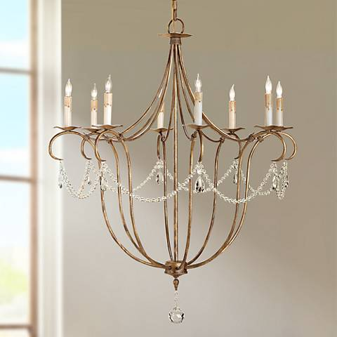 "Currey and Company Crystal 8-Light 31"" Wide Chandelier"