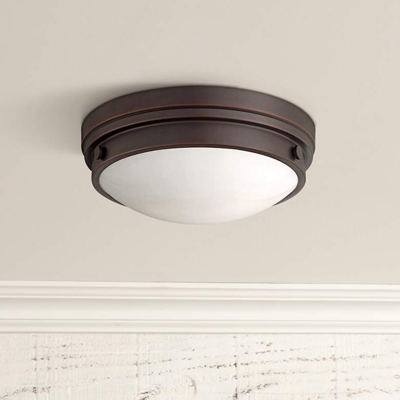 "Culver Collection 13 1/4"" Wide Lathan Bronze Ceiling Light"