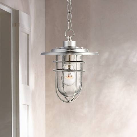 "Stratus Collection 10 1/2"" High Nickel Outdoor Hanging Light"