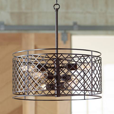 "Lattice 6-Light 20 1/4"" Wide Bronze Pendant Light"
