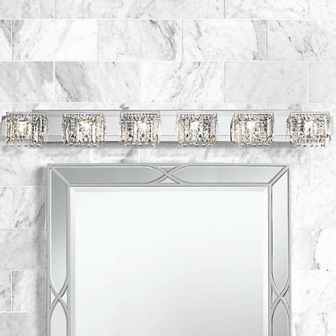 "Possini Euro Hanging Crystal 50 3/4"" Wide Chrome Bath Light"
