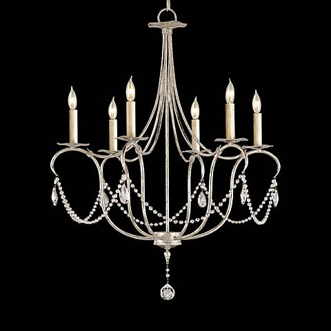 "Currey and Company 27"" Wide Silver Leaf Crystal Chandelier"