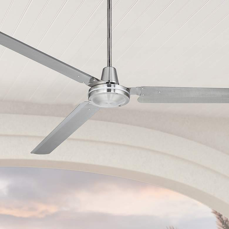 "72"" Casa Velocity Brushed Nickel Damp Rated Large Ceiling Fan"