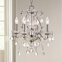"Grace 17"" Wide Chrome and Crystal 4-Light Chandelier"