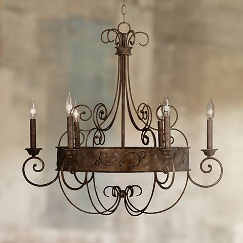 "Franklin Iron Works 30"" Wide Rust Candelabra Chandelier"
