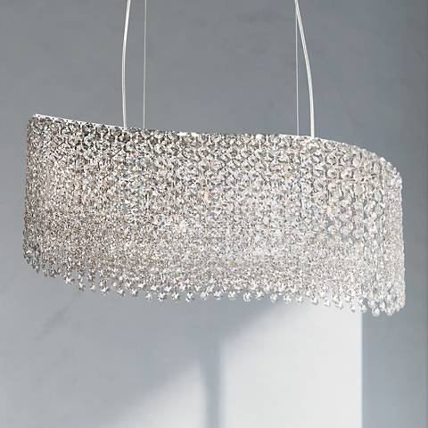 "Adali Curve 25 1/2"" Wide Clear Crystal Pendant Chandelier"