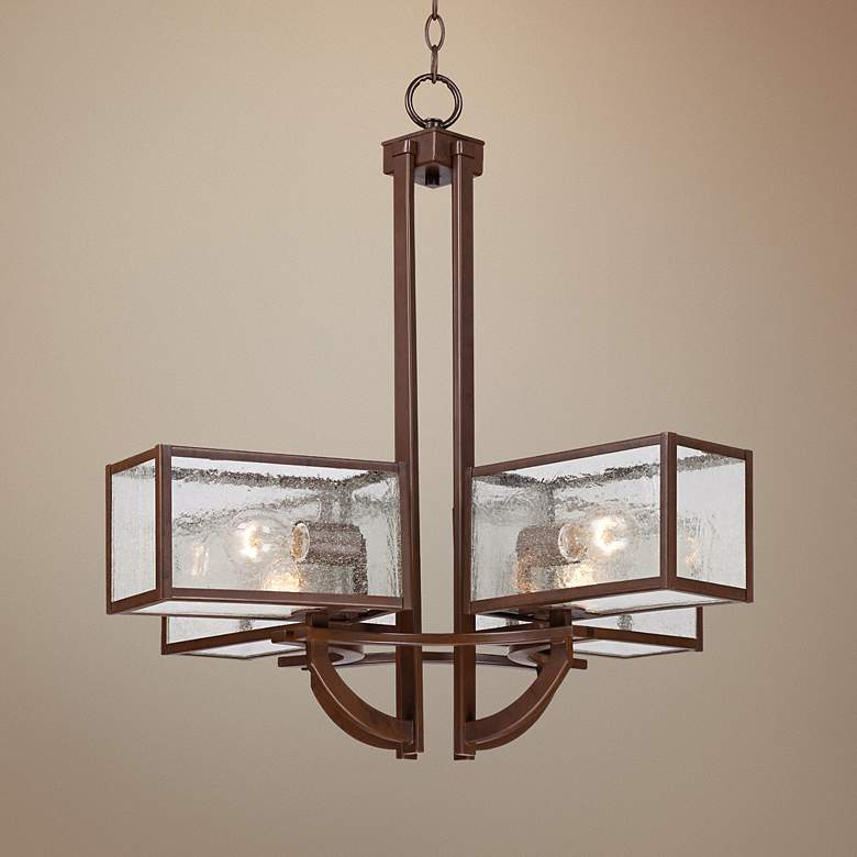 Four Square 4-Light Seedy Glass Bronze Chandelier