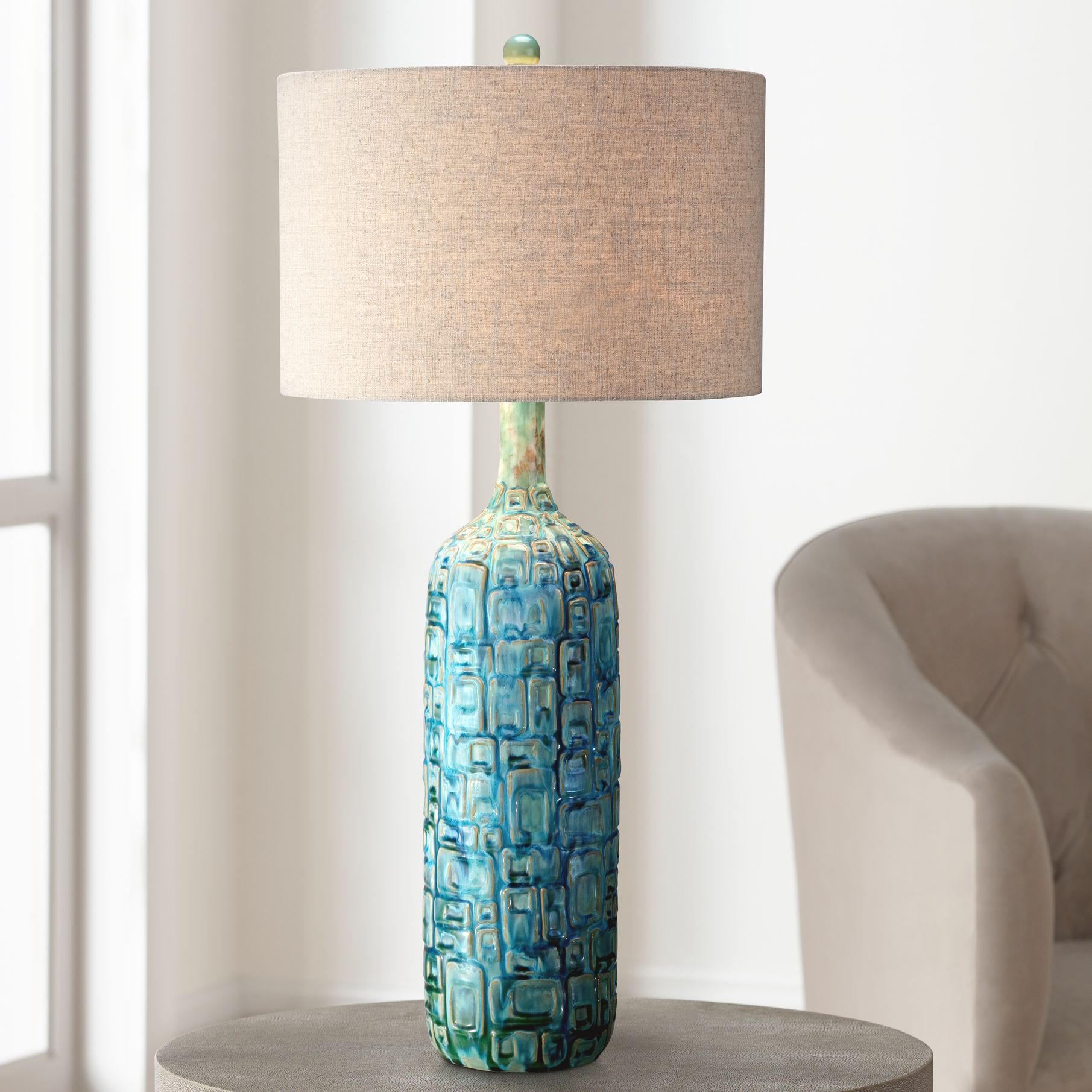 High Quality Ceramic Teal Mid Century Table Lamp By Possini Euro Design   #Y4421 | Lamps  Plus
