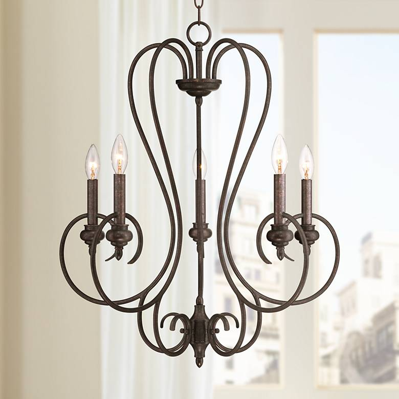"Channing 5-Light 24 1/2"" Wide Bronze Scroll Chandelier"