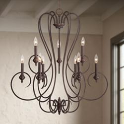 "Channing 9-Light 30 1/2"" Wide Bronze Scroll Chandelier"