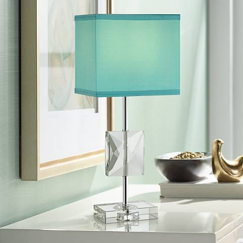 "Clara 18"" high Donna Crystal Teal Blue Accent Table Lamp"