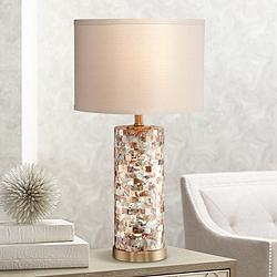 Margaret Mother of Pearl Tile Cylinder Table Lamp