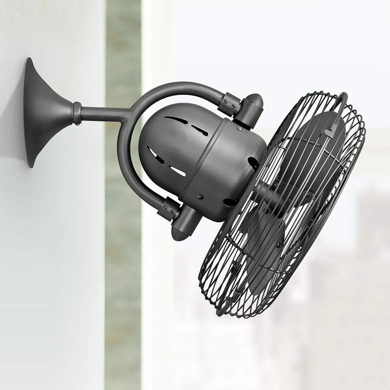 "13"" Kaye Brushed Nickel Oscillating Caged Wall Fan"