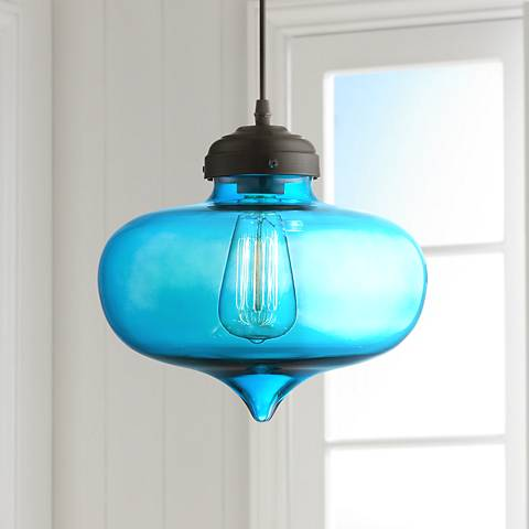 "Possini Euro Darby 10 1/2"" Wide Blue Glass Mini Pendant"