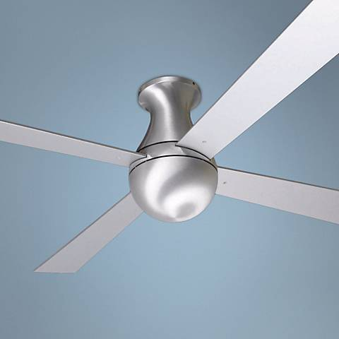 "52"" Modern Fan Ball Hugger Brushed Aluminum Ceiling Fan"