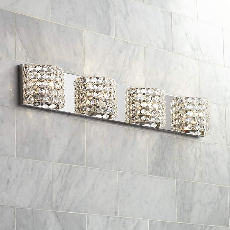 "Cesenna 35 1/2"" Wide Crystal 4-Light Bath Light"