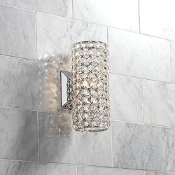 "Cesenna 10 1/4"" High Crystal Cylinder Wall Sconce"