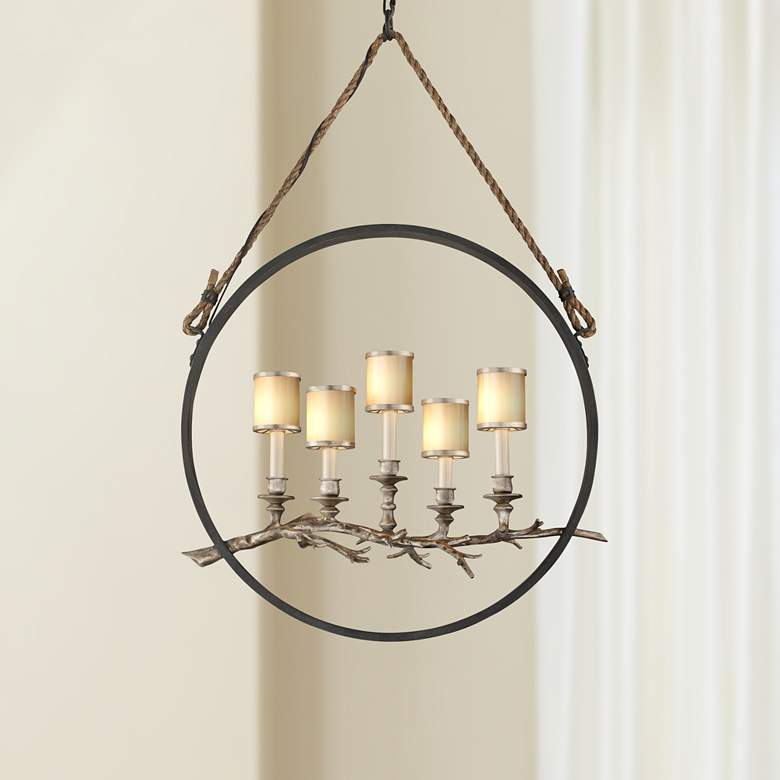 "Drift 26"" Wide Bronze and Silver Leaf 5-Light Pendant"