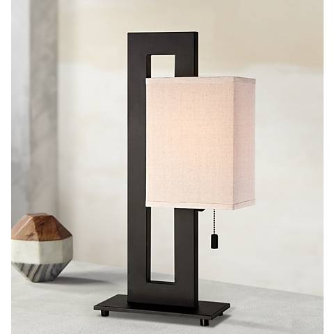 Espresso Bronze Floating Square Table Lamp