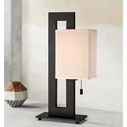 Floating Square Espresso Bronze Modern Table Lamp