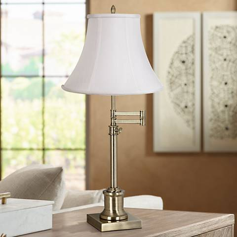 Westbury Imperial White Bell Brass Swing Arm Desk Lamp