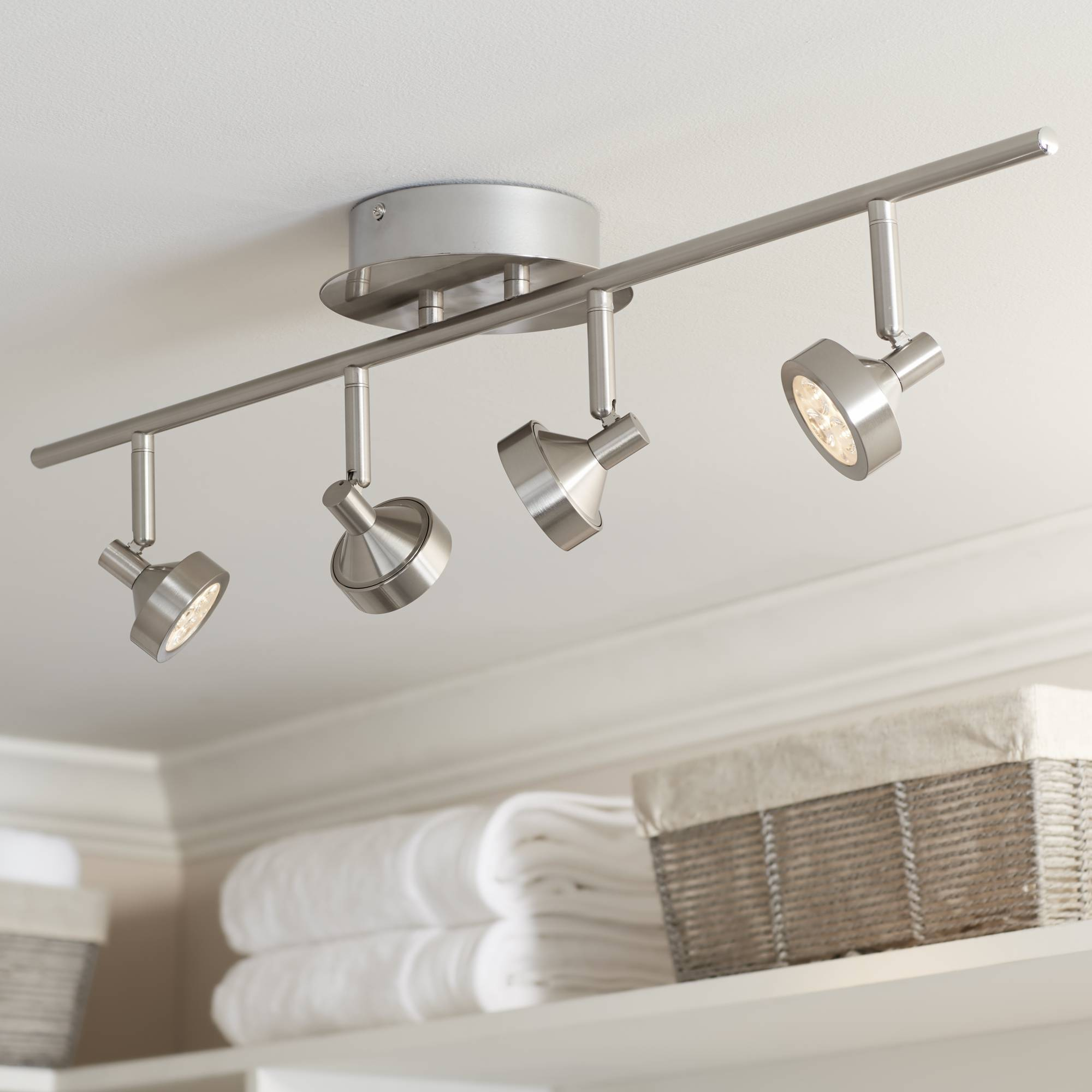 Pro track tilden 4 light brushed steel led ceiling light