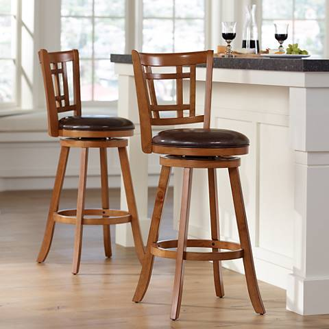 "Hillsdale Fairfox 30 1/2"" Oak Swivel Bar Stools Set of 2"