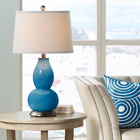 Mykonos Blue Double Gourd Table Lamp