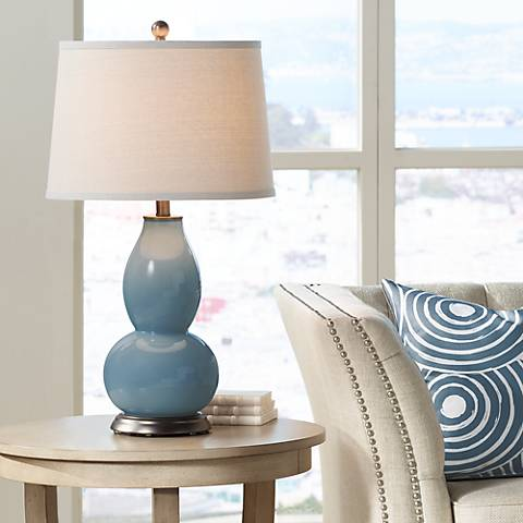 Smoky Blue Double Gourd Table Lamp