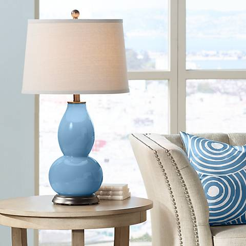 Secure Blue Double Gourd Table Lamp